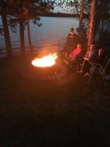 Enjoying a campfire overlooking the lake!