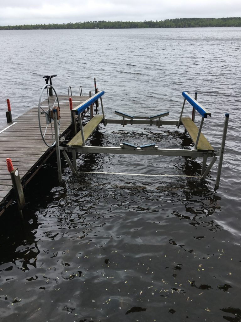 Boat lift, included with rental.