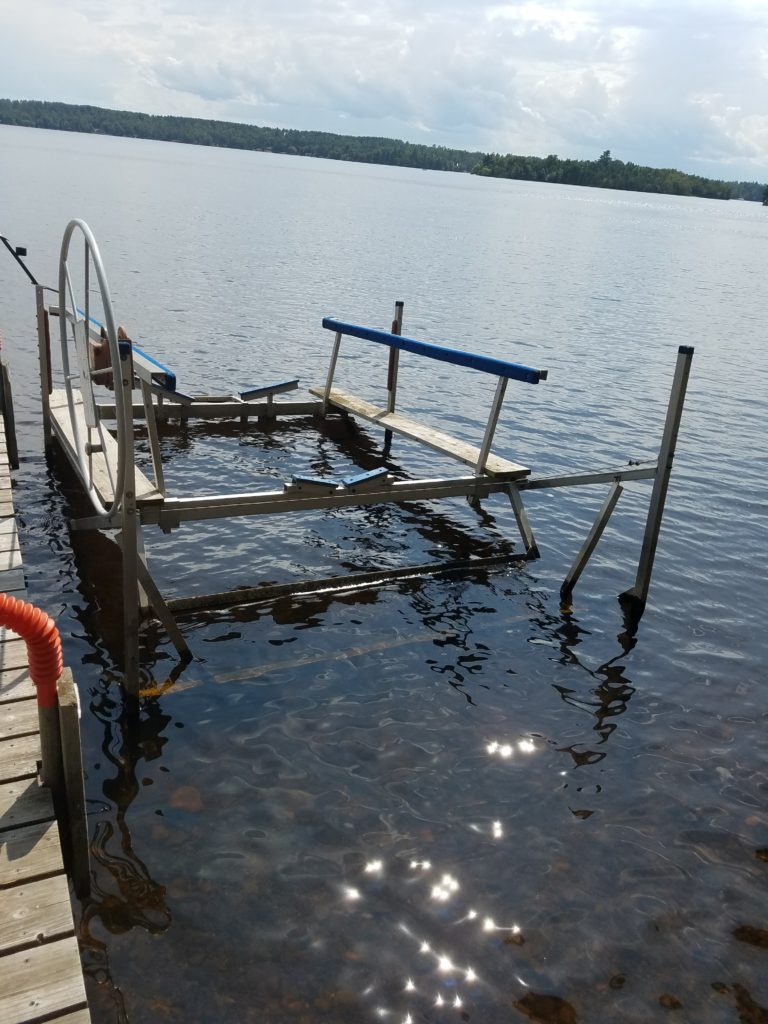 Boat lift, included with rental